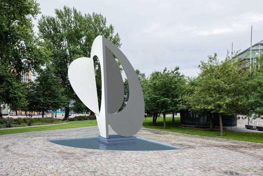 Aarholli - Teos on abstrakti veistos, joka toimii puhtaasti sommittelun keinoilla.