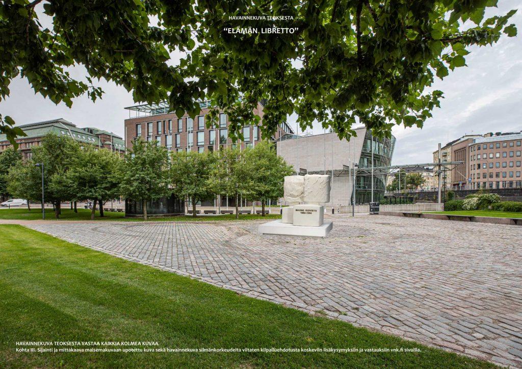 Presidentti Mauno Koiviston muistomerkissä ei voi olla vain fasadia yhteen suuntaan, ei henkisesti, eikä tällä vaativalla paikalla. Fasadin on oltava joka suuntaan, sen on oltava avoin ja demokraattinen.