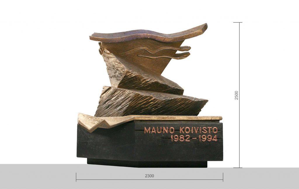 Observationsbild av verket: Utkastet är inte en abstrakt skulptur, utan ett minnesmärke som vittnar om det organiska med livscykeln för den karismatiska, ansvarsfulla statsmannen, som betonar parlamentet och demokratin.