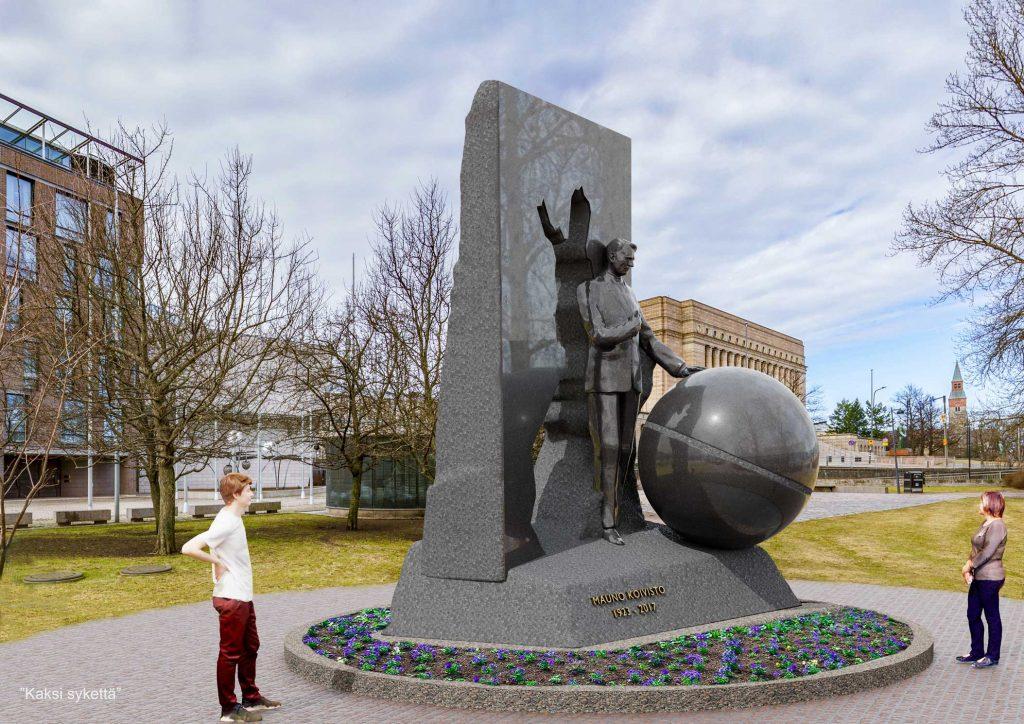 Figuren i skulpturens bakgrund symboliserar ett för Koivisto typiskt sätt att fundera över saker och ting och lösa problem; efter att ha nått ett resultat öppnade sig en ny synvinkel, ett nytt perspektiv och nya vinklar för Koivisto.