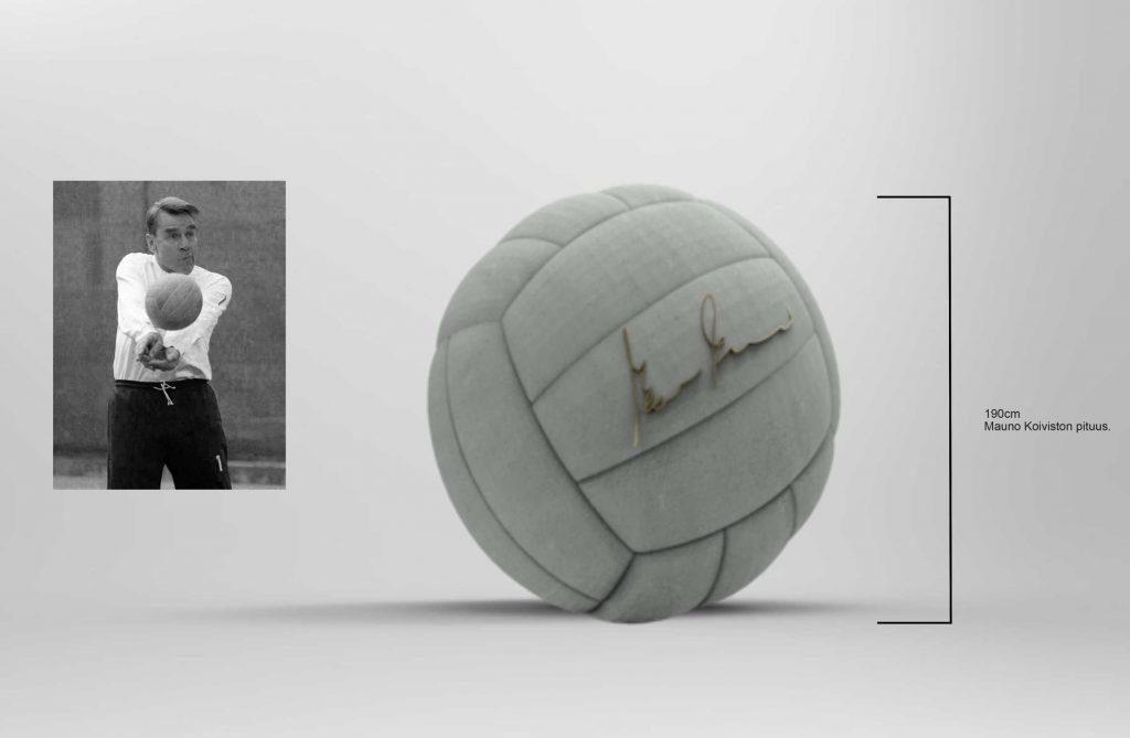 Presidentti Koiviston muistomerkki on 190 cm halkaisijaltaan oleva vaaleasta betonista valettu lentopallo.