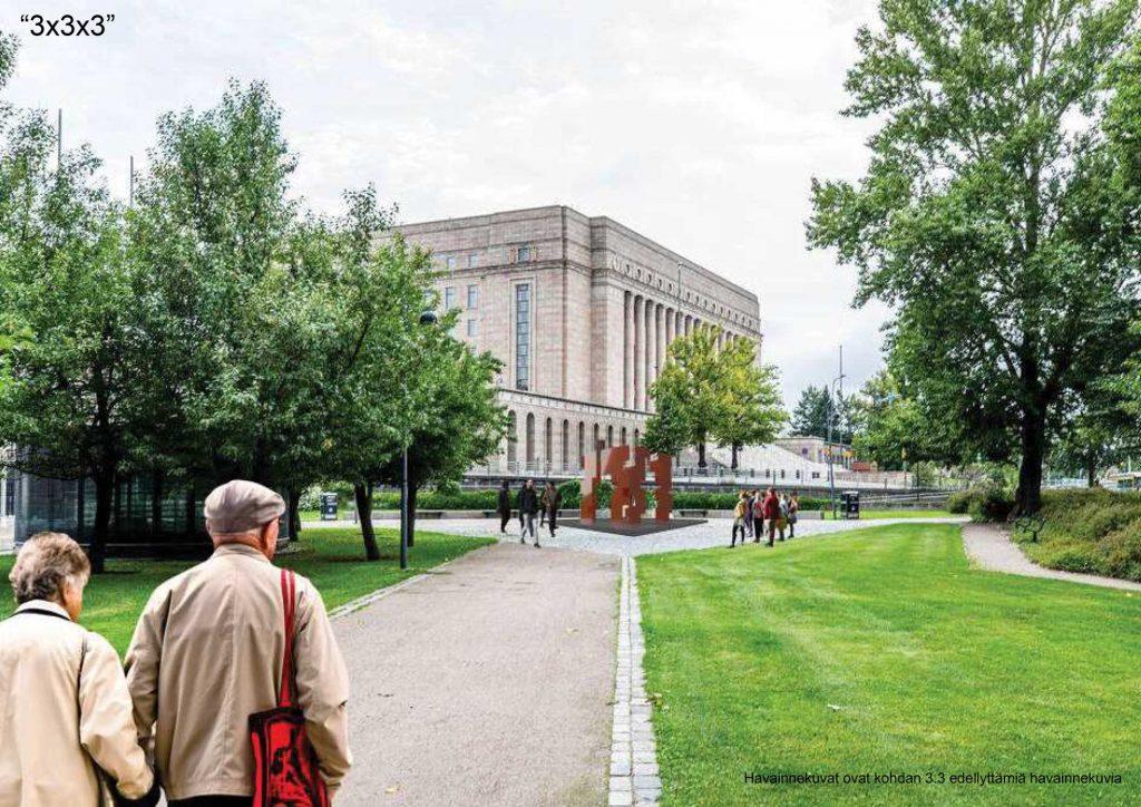 Minnesmärket över Mauno Henrik Koivisto har placerats på platsen för den nuvarande fontänbassängen.
