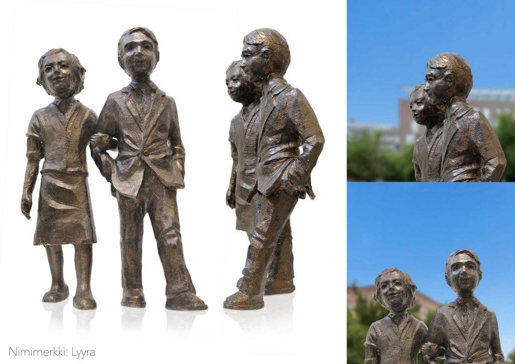 Havainnekuva teoksesta: Muistomerkki koostuu kahdesta pronssisesta figuurista, jotka seisovat matalan graniittijalustan päällä. Matala jalusta korostaa presidenttiparin lähestyttävyyttä.