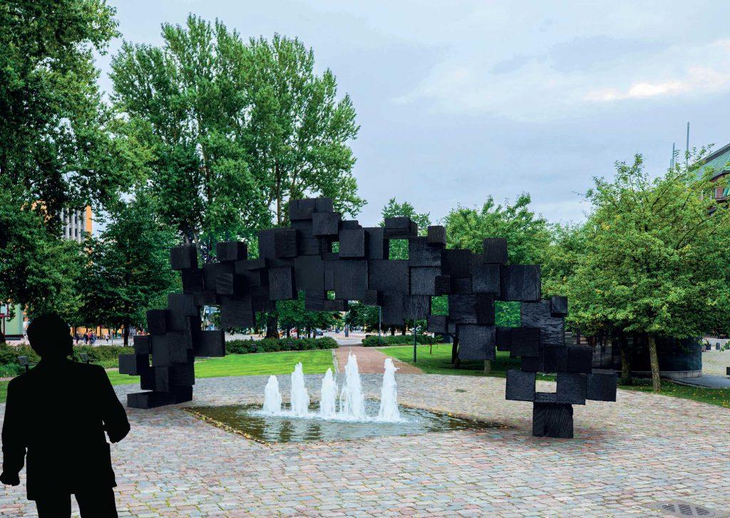 Havainnekuva teoksesta: Teoksen on tarkoitus ilmentää presidentti Mauno Koiviston elämäntyötä valtiomiehenä, sillanrakentajana idän ja lännen välillä, samoin kuin hänen työtään Suomen integroitumisessa Euroopan unioniin