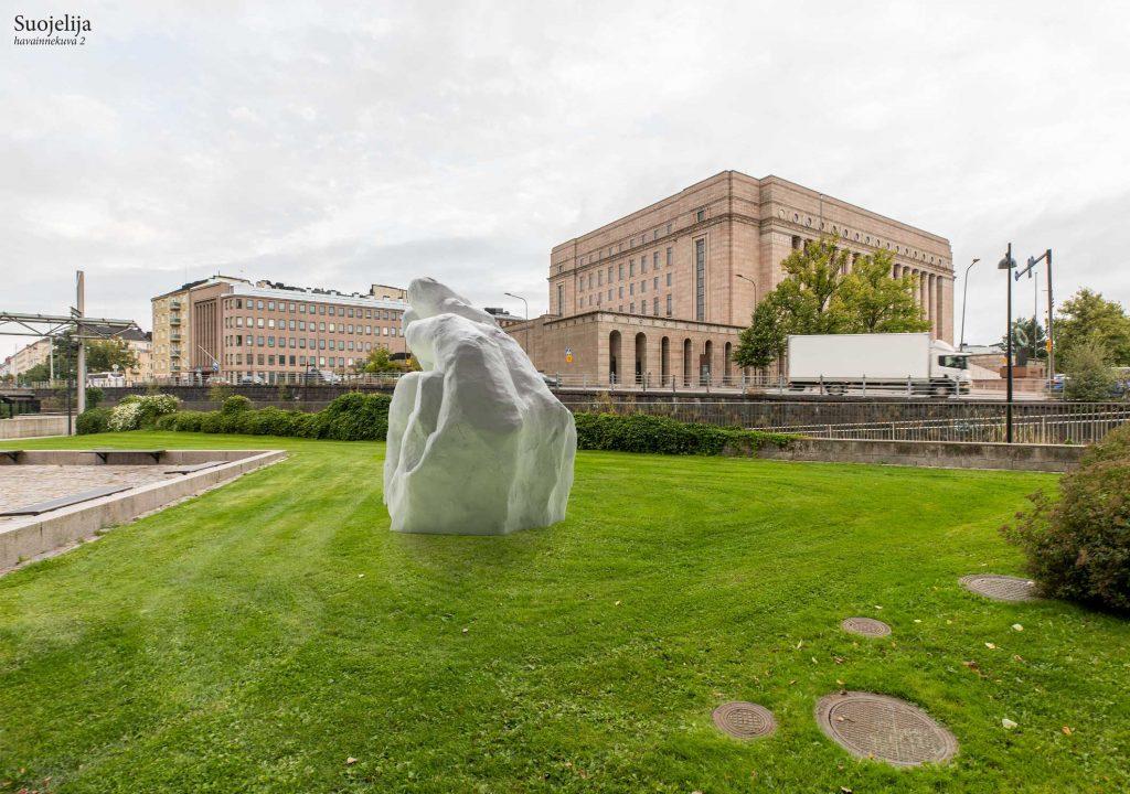 Beskyddaren är en skulptur som är förstorad 25 gånger och som föreställer en stor mans händer.