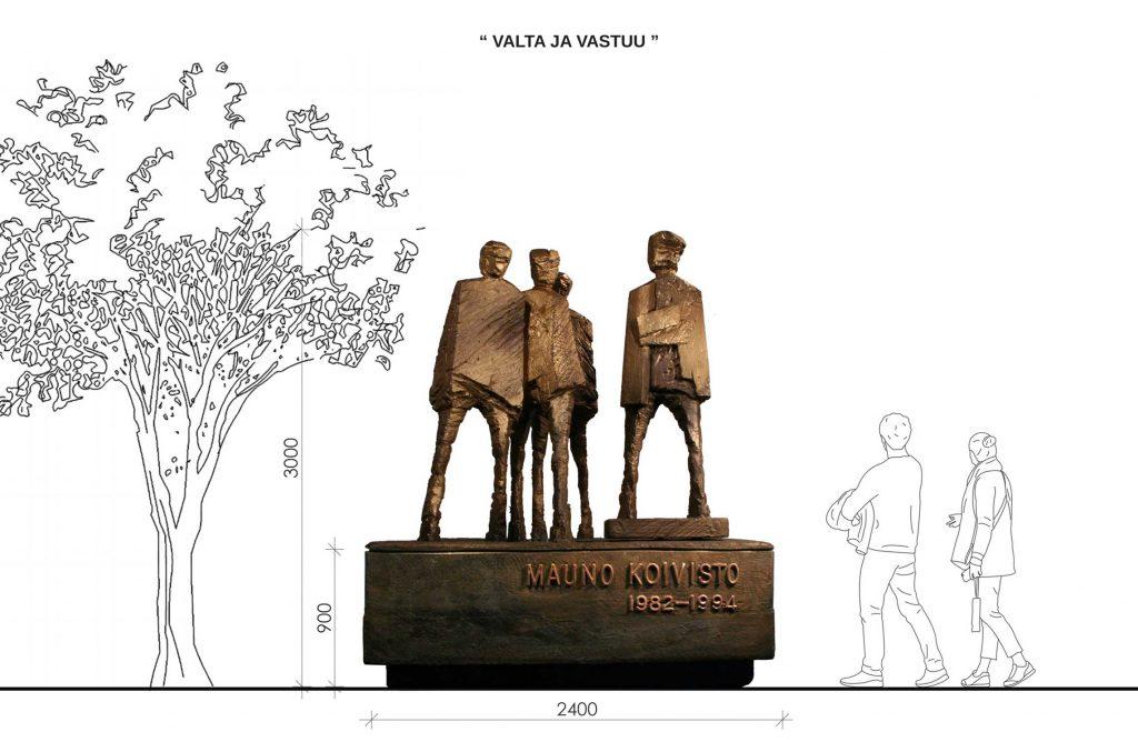 Observationsbild av verket: Idéutkastet ger uttryck för statsmannen Mauno Koivisto och hans livsverk som Finlands president.