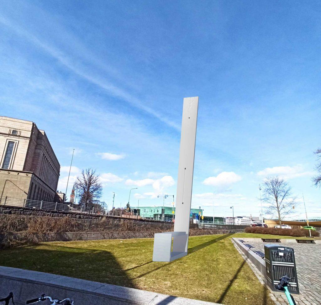 Vaihtopenkki - havainnekuva teoksesta ympäristössä, alaviistosta kohti taivasta kuvattuna.