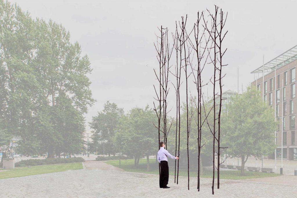 Havainnekuva teoksesta: Puiden voi ajatella edustavan ajallista jatkuvuutta tai pysyvyyttä.