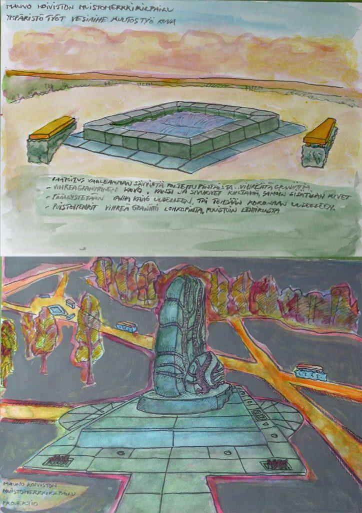 """Veistoksen kivimateriaali on Ylämaan vihreä graniitti, """"Karjalan vihreä"""" ja valmistetaan kiviveistamöllä Teollisesti valmistetaan iso jalusta, ympäristölaatoitukset ja suihkukaivon laatoitukset."""