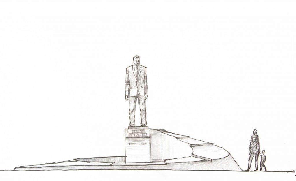 Havainnekuva teoksesta: Muistomerkki kuvaa Mauno Koiviston matkaa työväenluokasta valtakunnan huipulle.
