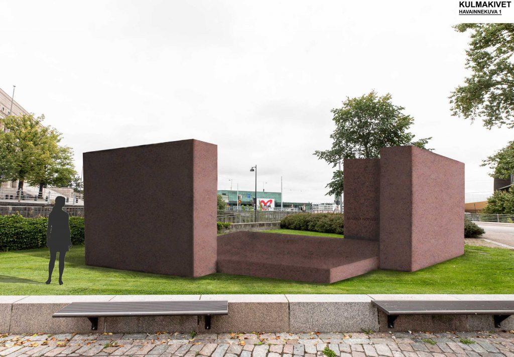 Havainnekuva teoksesta: Teoksen korkeat elementit kuvailevat kahta talon nurkkaa, lattian pohja-ala on kuin rintamiestalossa.