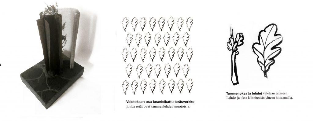 Observationsbild av verket: De tolv bladen på grenen symboliserar Koivistos två mandatperioder som president